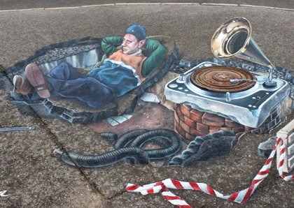 В центре Волгограда появилась 3D–карикатура на коммунальщика