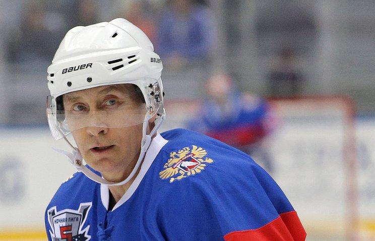 Путин вышел налёд вгала-матче Ночной хоккейной лиги