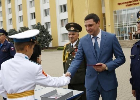 Мэр Краснодара Е. Первышов поздравил воспитанников  президентского училища